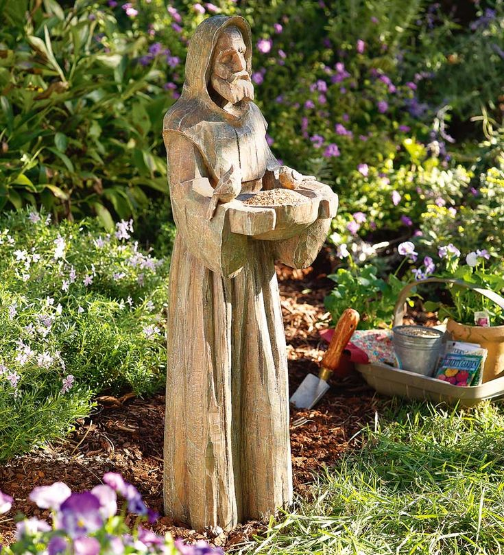 Saint Francis Statue With Bird Feeder In Durable Cast