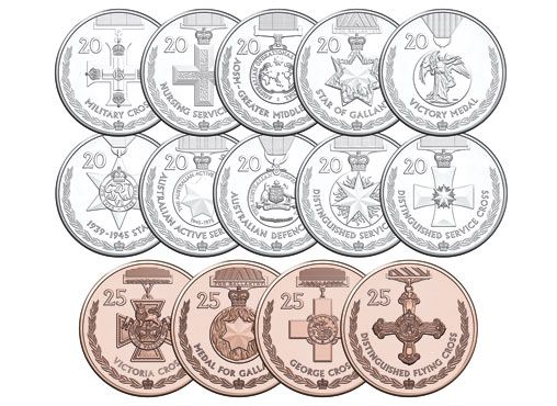 The 2017 Official Coin Collection – Legends of the Anzacs: Medals of Honour – commemorates 14 significant military honours (both Imperial and Australian honours) awarded to Australians throughout the 100 years of Anzac. This folder contains all 14 coins released as part of the News Corp program including the 4 unique issue 25 cent coins.