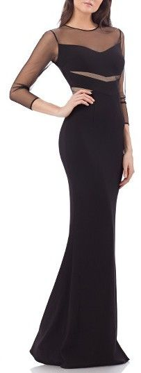 Women's Js Collections Illusion Lace Ottoman Mermaid Gown - Black Tie Wedding Guest Dress Idea - Prom Dress Ideas