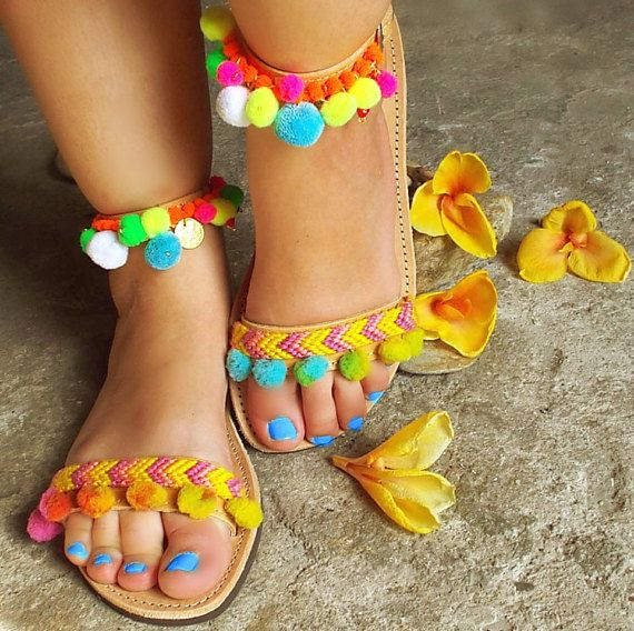 Bohemian Sandals with Rainbow Pom Pom Mimosa by SandalsofLove