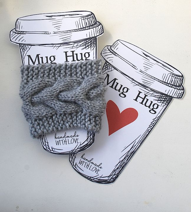 Knitted mug cozy with card created by Cari Locken for Silhouette America.