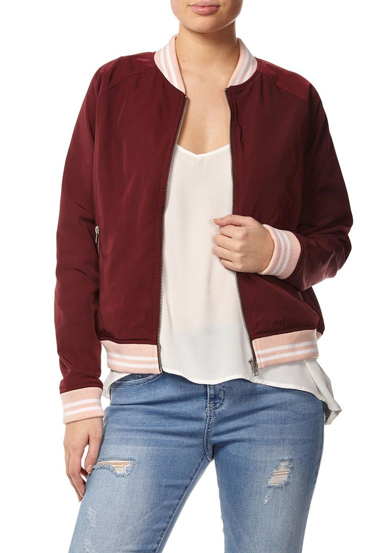 retro sport bomber jacket in pink and maroon Bomber