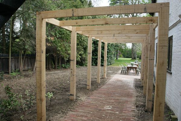 Like the simple square joints of this oak pergola.
