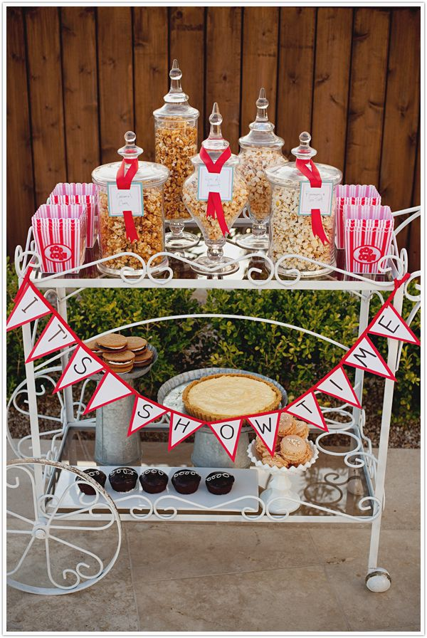 """""""it's showtime"""" shabby chic popcorn station..would be cute for pre-ceremony refreshements."""