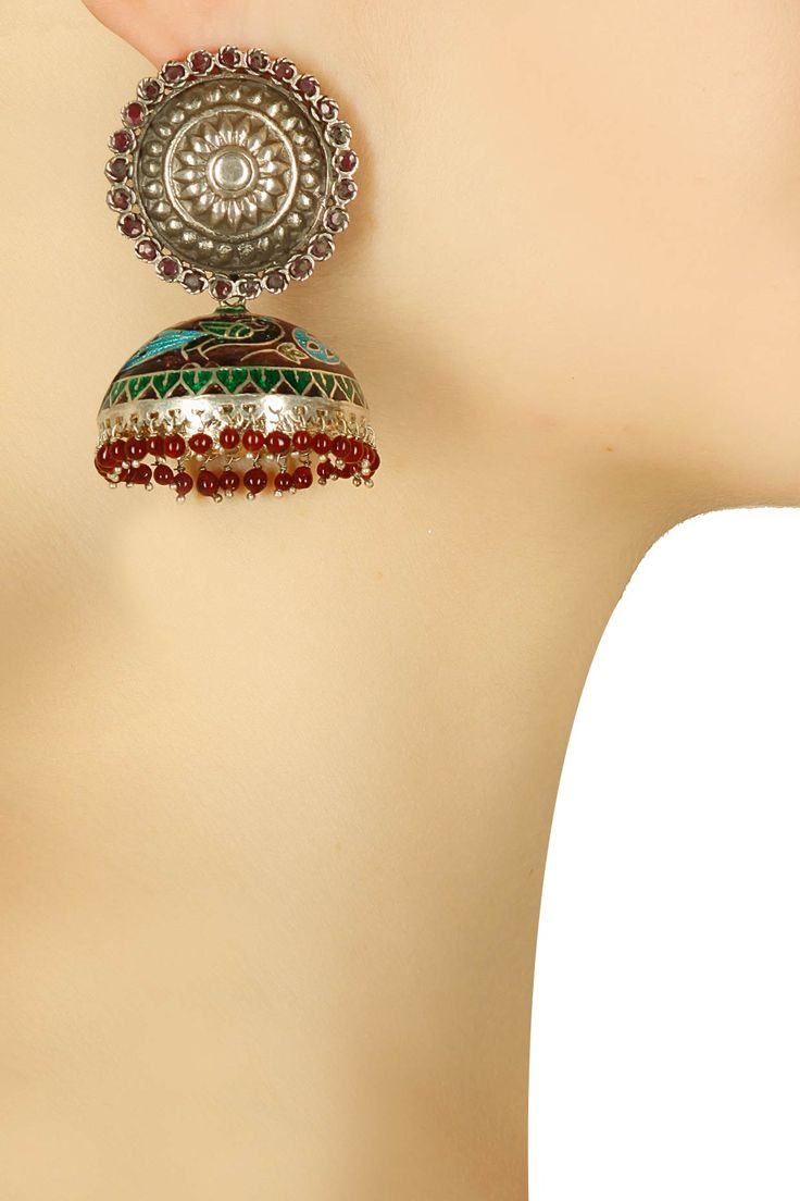 Antique silver finish peacock enemalled jhumki earrings available only at Pernia's Pop-Up Shop.