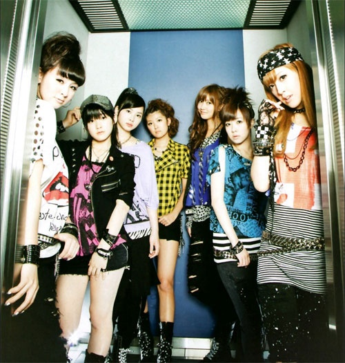 Another Hello! Project group, Berryz Koubou promoting their single Maji Bomber! in this picture (circa 2010). The group was formed at nearly the same time as °C-ute. Likewise originally an 8-member group, one member has left since.
