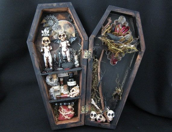 Miniature mixed media coffin curio shadow box