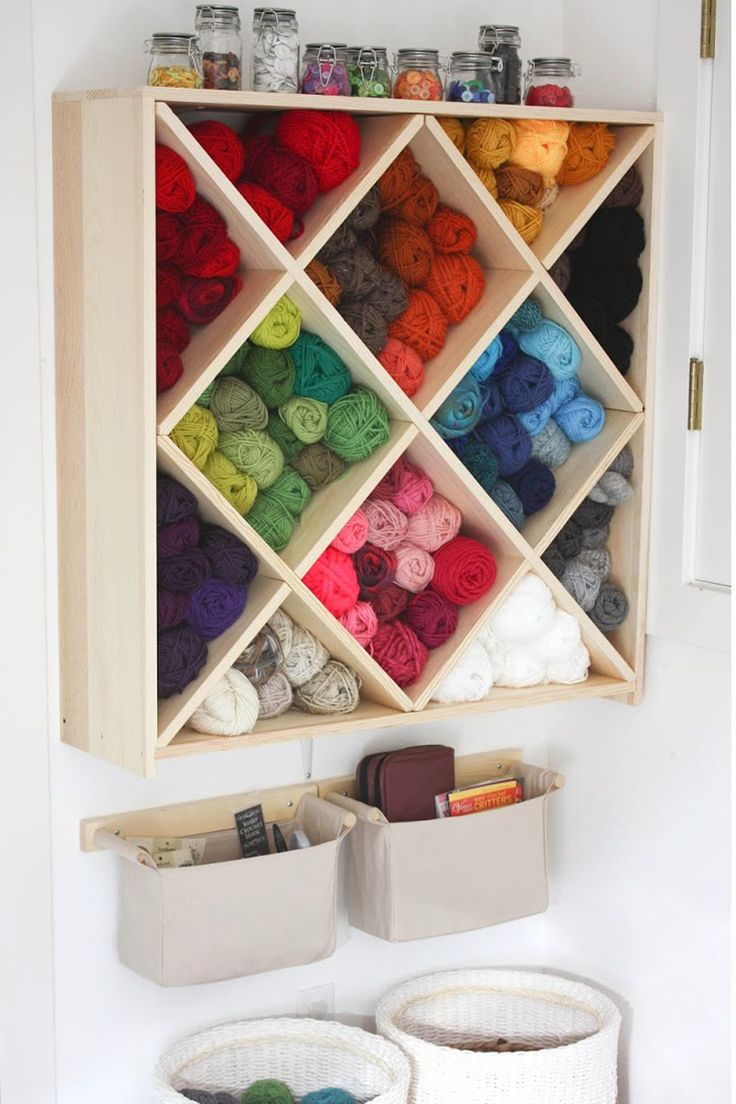 This nifty yarn storage unit from Repeat Crafter Me makes it a cinch to grab a skein. Plus, buttons—in corresponding hues, natch—are lined up on the top of the shelf in easy-access swing top jars.     - CountryLiving.com
