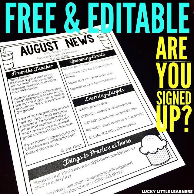 In a few hours I will be sending out 12 months of FREE, EDITABLE newsletter templates. These save me a ton of time during the school year. All you have to do is provide some quick text in each box and print. I hope you are on my email list! LINK IN PROFILE. http://luckylittlelearners.com