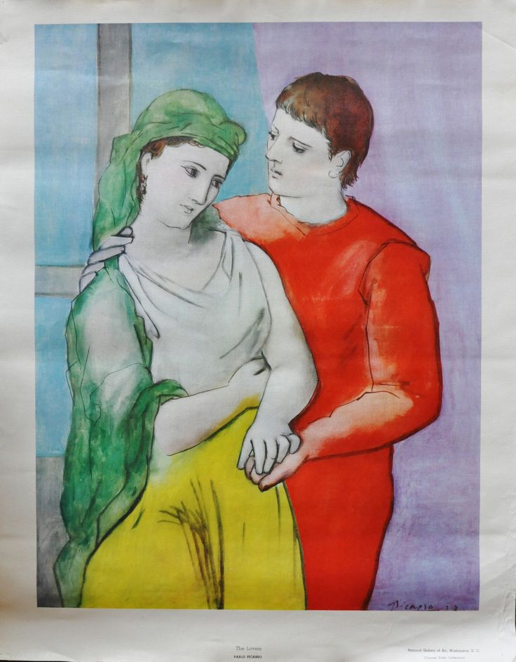 "Pablo Picasso The Lovers Print on Canvas 26"" x 21"""