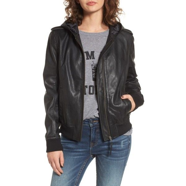 Women's Bp. Hooded Leather Flight Jacket ($150) ❤ liked on Polyvore featuring outerwear, jackets, black, flight jacket, genuine leather jackets, military style jacket, real leather bomber jacket and hooded jacket