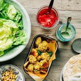 spring onion falafel with millet + some accompaniments » The First Mess