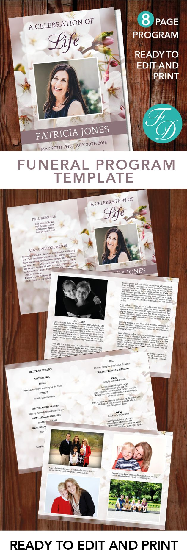 8 Page Printable Funeral program ready to edit & print Simply purchase your funeral templates, download, edit with Microsoft Word and print. #obituarytemplate #memorialprogram #funeralprograms #funeraltemplate #printableprogram #celebrationoflife