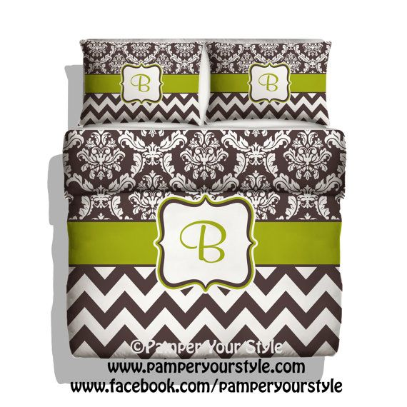 Damask and Chevron Bedding - Brown and Green Bedding Duvet - Custom Duvet - Personalized Chevron Bedding - All colors Available on Etsy, $139.00