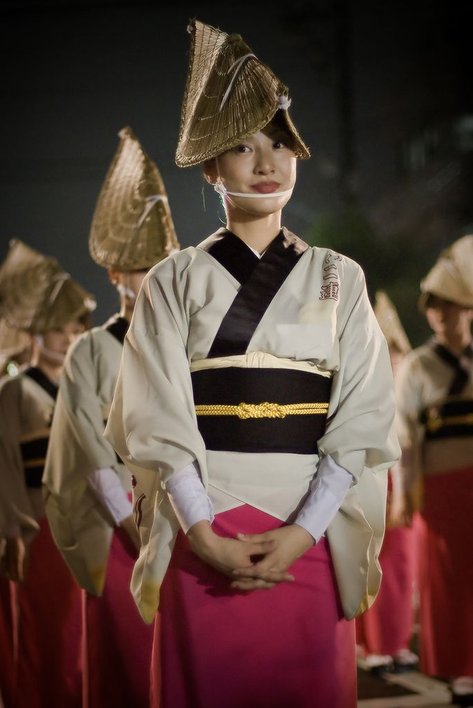 Awaodiri festival performer poses a moment. 阿波踊り or awa dance is one of the largest dance festivals in Japan.