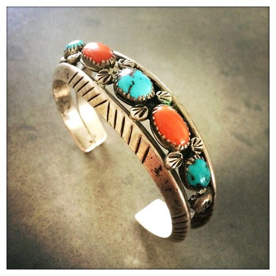 TURQUOISE & CORAL    Description:  Gorgeous Native American Turquoise & Coral Bracelet.  Vintage Navajo: Circa 1970s.  Also known as a Dead Pawn