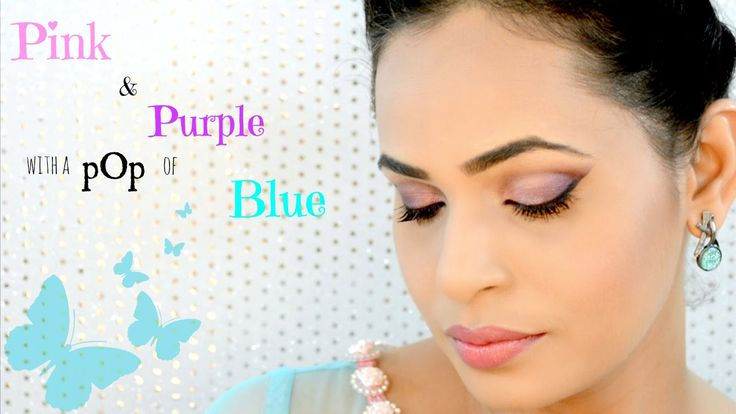 Simple Pink And Purple Eye Makeup  With A POP Of Blue
