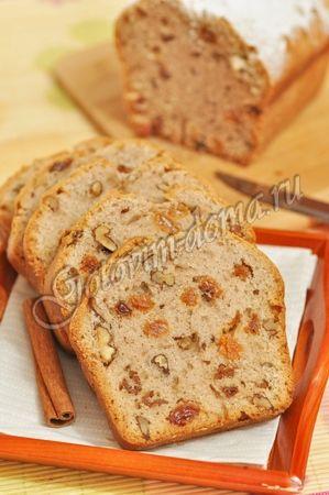 Кекс на яблочном отваре с корицей (постный) Состав яблочный отвар - 250 мл, растительное масло - 100 мл, сахар - 160 г, мука - 280 г, разрыхлитель - 1 чайная ложка, молотая корица - 0,5-1 чайная ложка, соль на кончике ножа, изюм - 0,5 стакана, грецкие орехи - 0,5 стакана   * для приготовления яблочного отвара: 1 яблоко, 400 мл воды, 1 столовая ложка сахара, палочка корицы (по желанию)