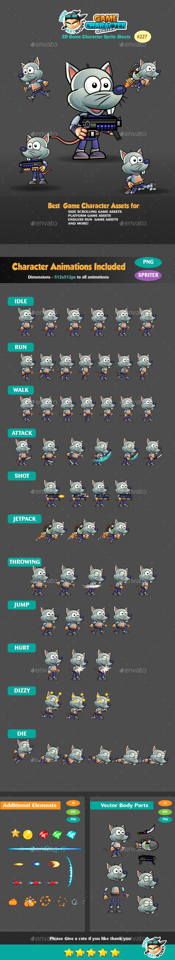 Rat Warrior Game Character Sprites 227 - Sprites Game Asset Design Template Vector EPS. Vector AI. Download here: http://graphicriver.net/item/rat-warrior-game-character-sprites-227/16467339?ref=yinkira