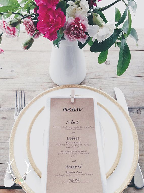 Wedding Menu  Printable  DIY Custom Wedding by OhhhSoDarling