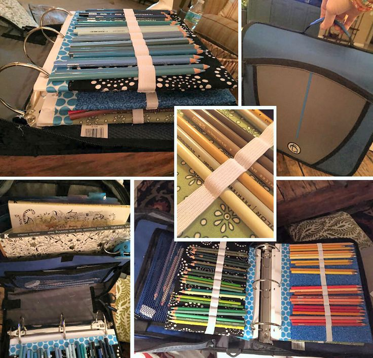 Not sure how to store your stash of colored pencils (or pens) to keep them neat and portable? How about a custom-made binder!