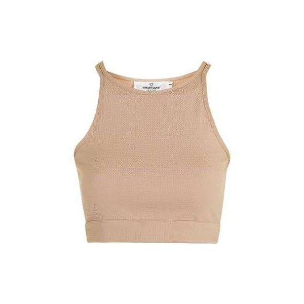 **Crop Top by Oh My Love - New In- Topshop ($85) ❤ liked on Polyvore featuring tops, beige top, topshop tops, crop top, cut-out crop tops and beige crop top