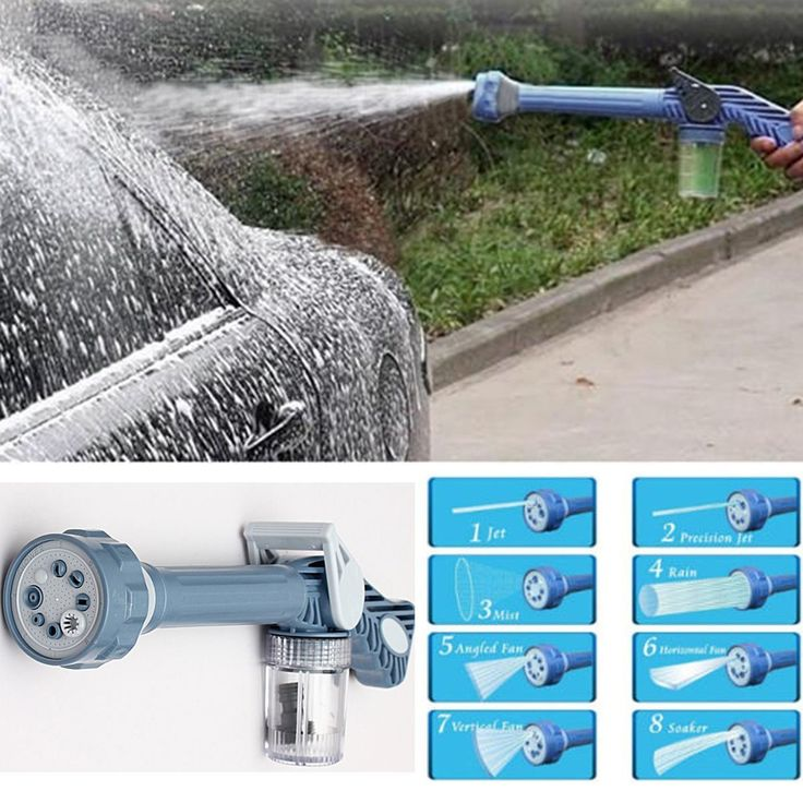 Oenbopo 8-In-1 Multifunctional Water Cannon Spray Gun With Soap Dispenser for Car Clean Watering Lawn Garden The forceful water pressure settings are strong enough to blast away stubborn dirt,such as washing gutters, windows, house exteriors, cars, boats, sidewalks, steps, and sliding doors. and the small setting are soft and gentle and ideal to water fragile plants and garden flowers.
