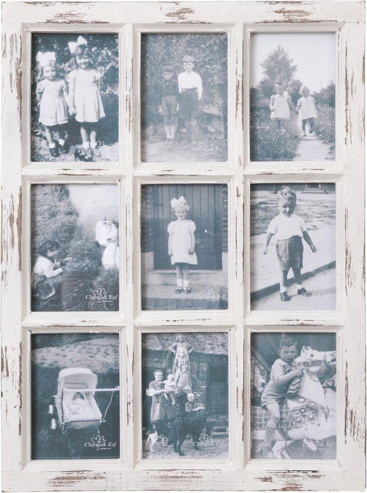 Fotolijst - 9 Foto's - Brocante - Hout - Wit - 57x43 - Clayre & Eef
