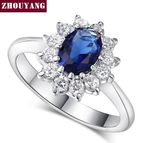 Top Quality Princess Kate Blue Gem Sapphire 18K White Gold Plated Wedding Finger Crystal Ring Brand Jewelry for Women
