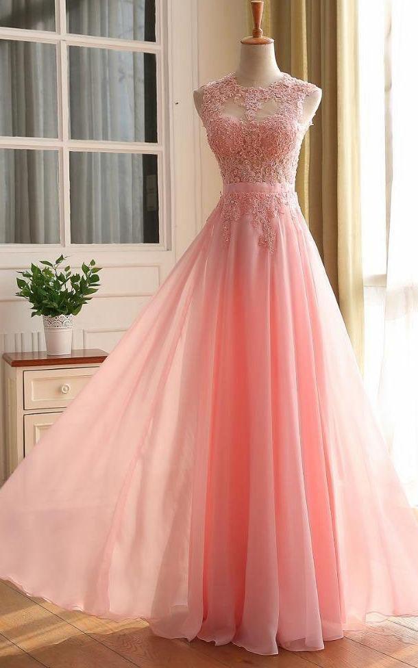9035ef690 A-line Sleeveless Zipper Back Chiffon Lace Dress