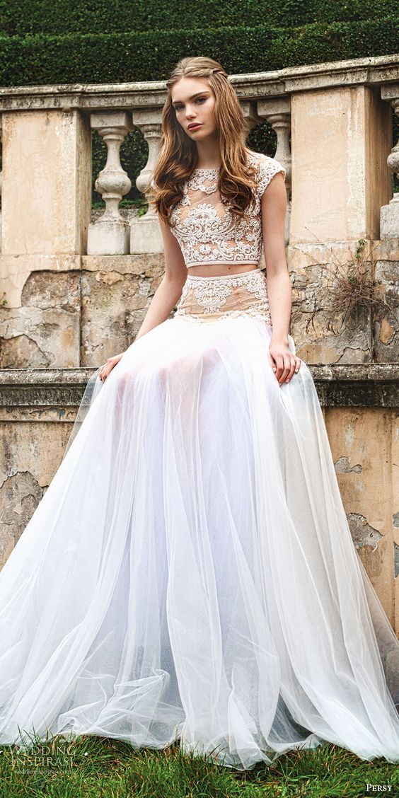 PERSY 2016 cap sleeves jewel neck crop top lace beaded skirt two piece wedding dress / http://www.deerpearlflowers.com/wedding-dresses-with-cap-sleeves/