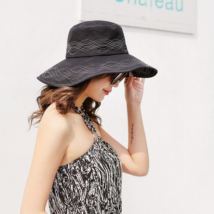 Washed Cotton Bucket Hat Summer Outdoor Wide Brimmed Cap