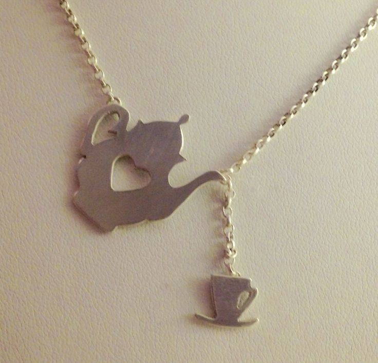 Commission for lady who owns tea rooms. Silver sheet and silver chain made by Helen Green