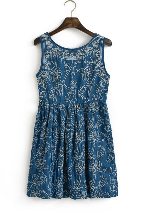 Bordado Vestido sin mangas - OASAP.com