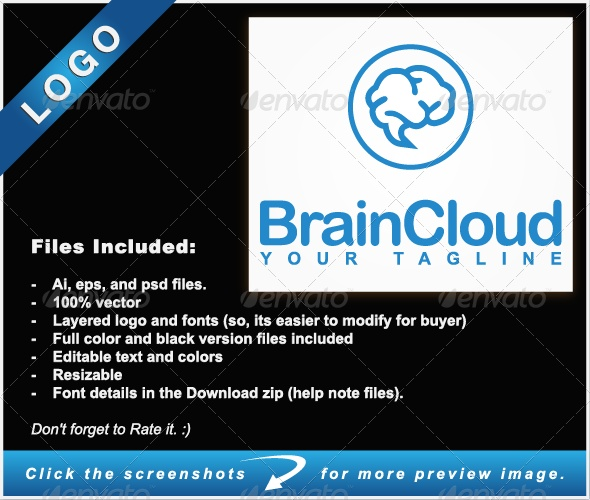 Brain Cloud Logo - Symbols Logo Templates