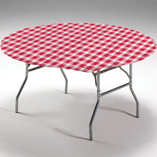 Red Gingham Round Stay Put Elastic Fitted Plastic Tablecloth