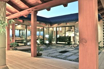 Asian Patio Design Ideas, Pictures, Remodel and Decor. Love the rain chains.