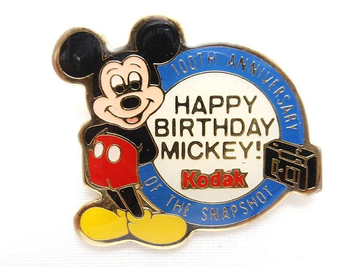 Old Walt Disney Mickey Mouse Kodak 100th Anniversary of the Snapshot Pin 1988