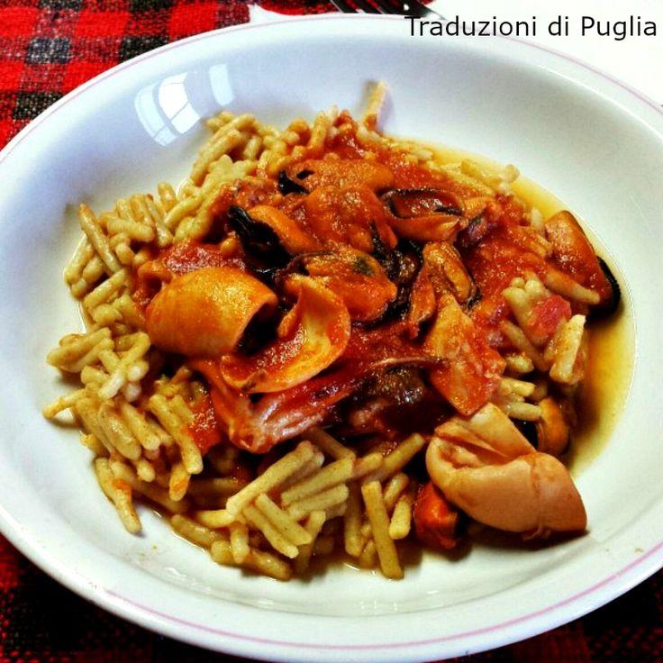 Gnocchi homemade con sugo di pesce (sauce of squid and mussels)