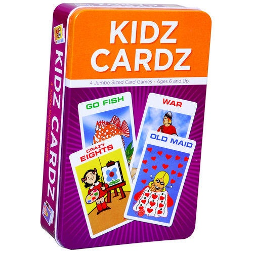 Get this four jumbo-sized card game packaged in this easy storage and travel tin. Card games include Go Fish, War, Crazy Eights, and Old Maid. For ages 6 and up.  $9.99  http://calendars.com/Travel-Games/Kidz-Card-Game/prod200200008508/?categoryId=cat490022=cat490022#