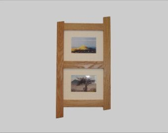 Solid reclaimed oak double picture frame shown in natural oak finich.