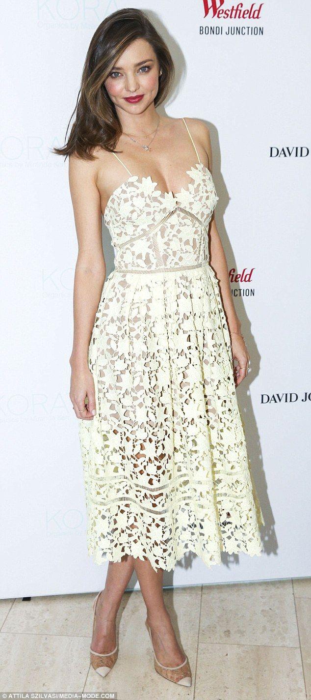 Lovely in lace! Earlier in the day, Miranda chose alow-cut cream Self-Portrait lace dress
