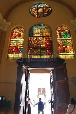 Entrance door of Saint Ubaldo basilica, Gubbio, Umbria, Italy