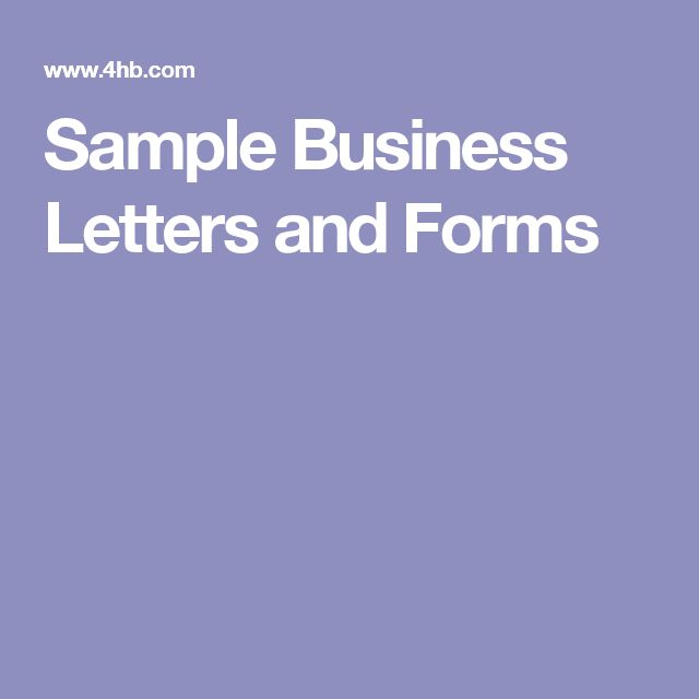 Sample Business Letters and Forms