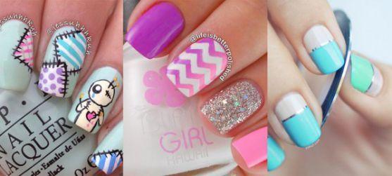 uñas pintadas cintillas y colores