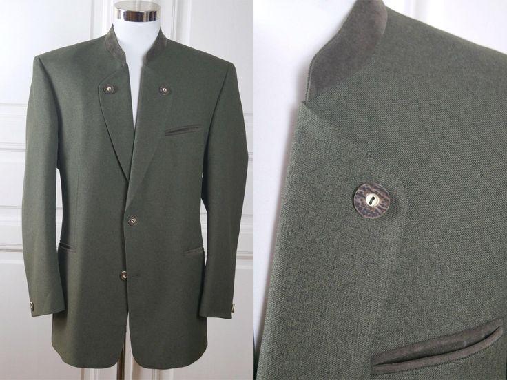 Vintage Trachten Jacket, Olive Green German Blazer w Heather Green Faux Suede Collar & Piping: Size XL (44 US/UK)