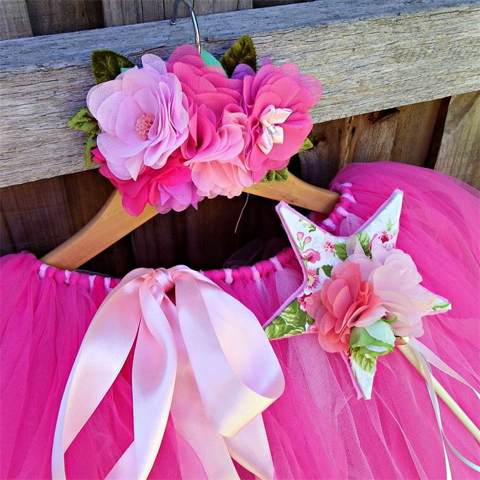 Pink deluxe floor length tutu, wand and fairy flower crown set. | Puddle Ducklings | madeit.com.au