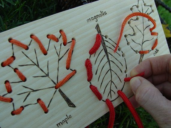 Leaves - Sewing Card- project idea~ hammer leaves on wood, drill holes for stitching.