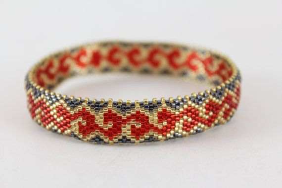 Elegant beaded bracelet bangle. Red black and gold by AnnaMosztok