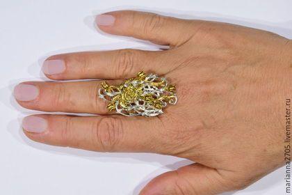 """Кольца ручной работы. """"Солнечный денек"""" серебряное кольцо с тюльпанами и розой…"""